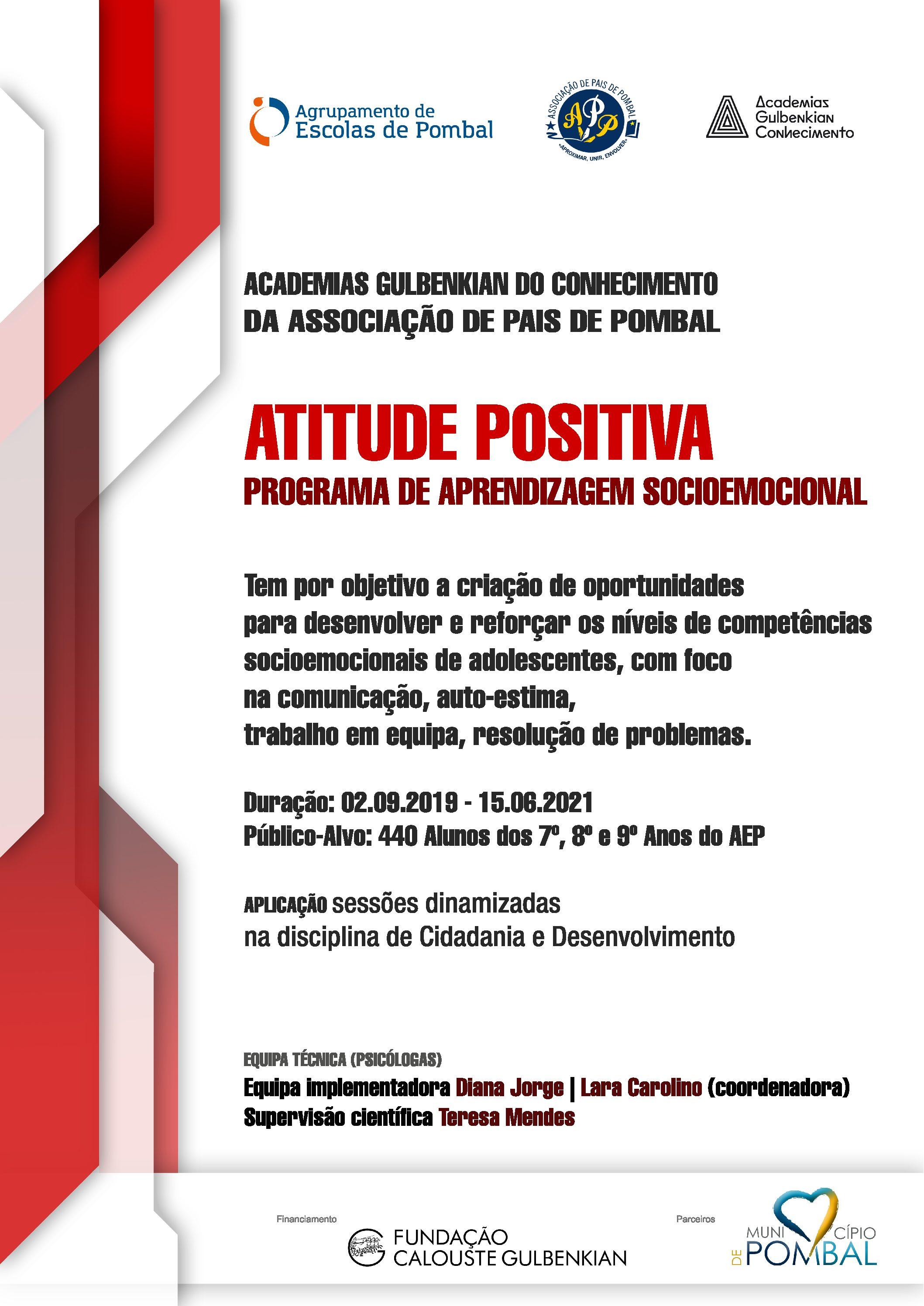 """""""Projeto Atitude Positiva"""" da Academia Gulbenkian da APP reinicia a 14 outubro. Este ano será implementado pela psicóloga drª Diana Jorge."""